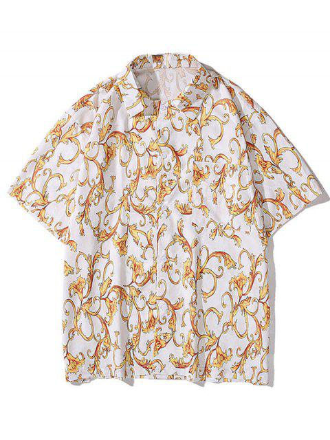 sale Baroque Flower Print Pocket Button Shirt - WHITE L Mobile