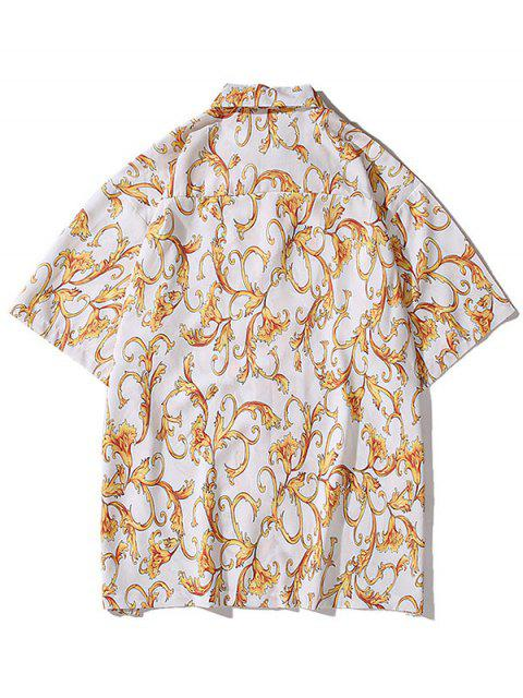 Barockes Hemd mit Blumendruck - Weiß XL Mobile