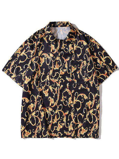 women Baroque Flower Print Pocket Button Shirt - BLACK L Mobile