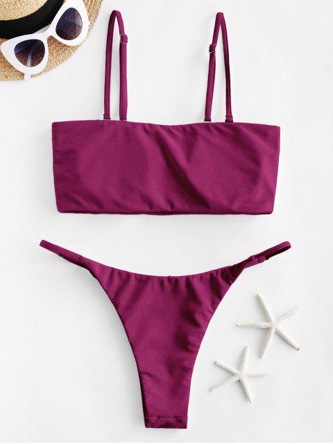 womens ZAFUL Neon Bandeau Bikini Swimsuit - DEEP RED S Mobile