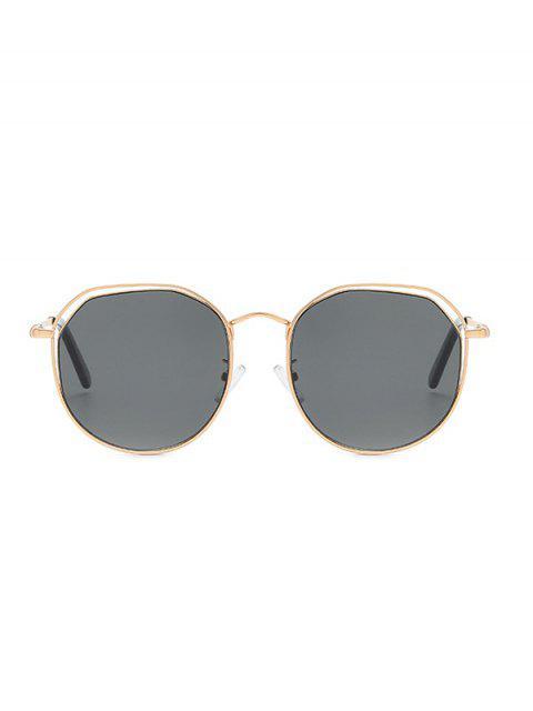 latest Metal Geometric Hollow Sunglasses - BLACK  Mobile