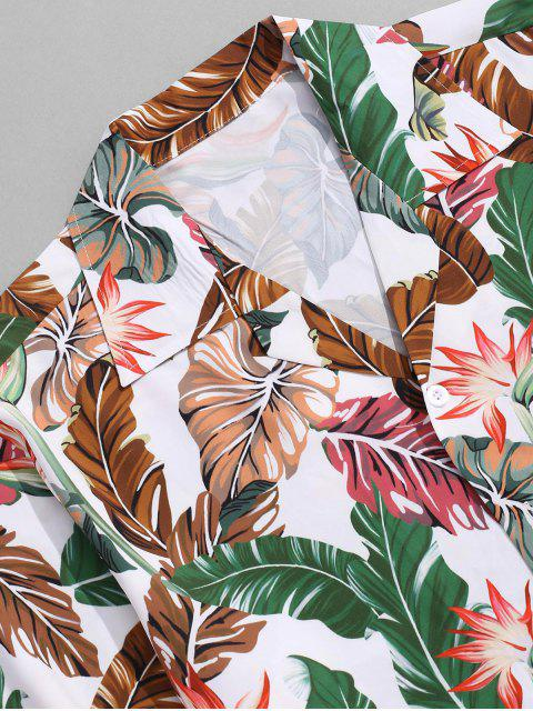 best Tropical Flower Leaf Print Vacation Shirt - SEA GREEN 2XL Mobile