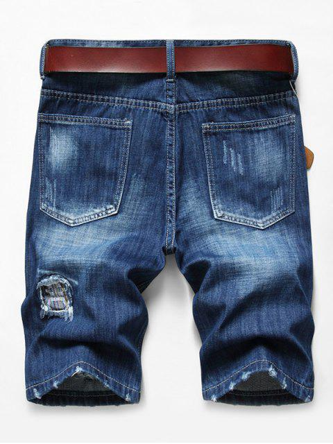 trendy Patchworks Ripped Decoration Denim Shorts - DENIM DARK BLUE 40 Mobile