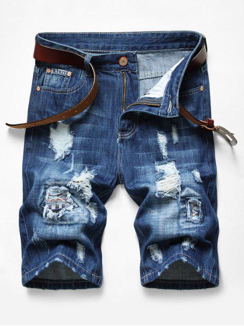 shops Patchworks Ripped Decoration Denim Shorts - DENIM DARK BLUE 36 Mobile