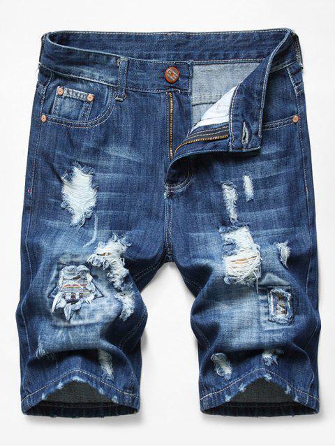 shop Patchworks Ripped Decoration Denim Shorts - DENIM DARK BLUE 34 Mobile