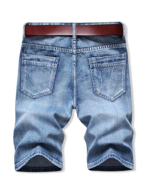 outfits Solid Color Zip Fly Denim Shorts - DENIM BLUE 42 Mobile