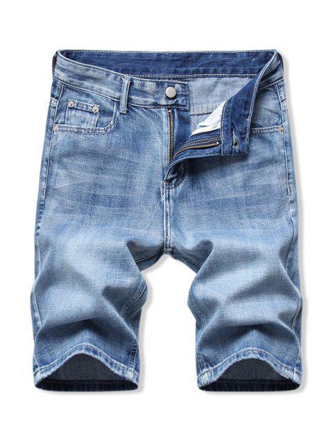hot Solid Color Zip Fly Denim Shorts - DENIM BLUE 38 Mobile