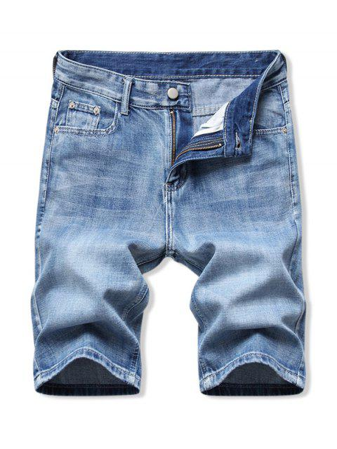 best Solid Color Zip Fly Denim Shorts - DENIM BLUE 32 Mobile