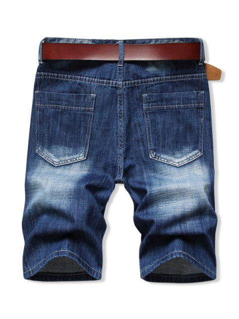 ladies Solid Color Zip Fly Denim Shorts - DENIM DARK BLUE 40 Mobile