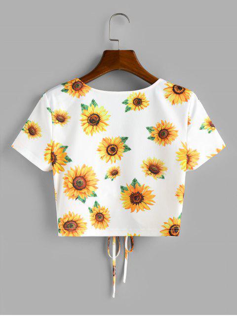 ZAFUL Geschnürte Crop T-Shirt mit Sonnenblumendruck - Weiß XL Mobile