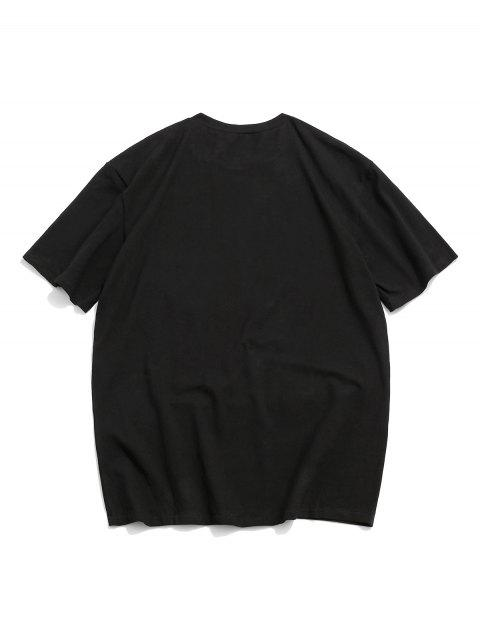 ZAFUL Graphic Letter Printed Round Neck T-shirt - أسود 2XL Mobile