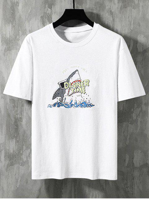 shops Shark Dinner Time Graphic Basic T-shirt - WHITE 3XL Mobile