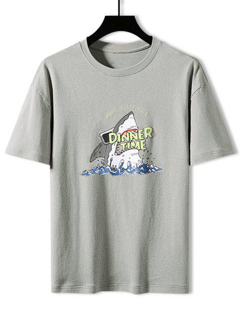latest Shark Dinner Time Graphic Basic T-shirt - LIGHT GRAY M Mobile
