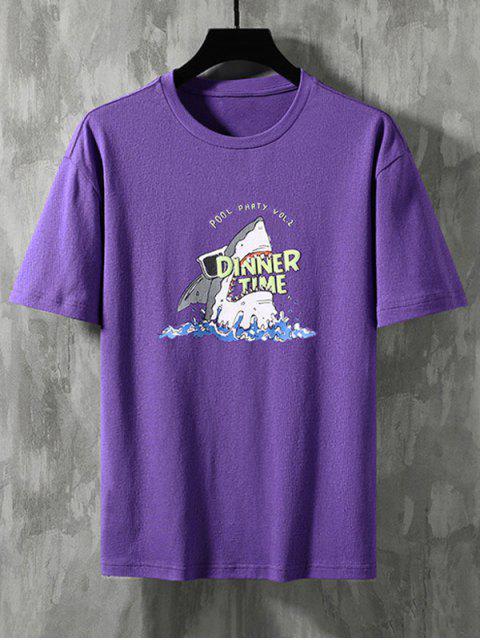 Camiseta Básica con Estampado de Tiburón - Púrpura XL Mobile