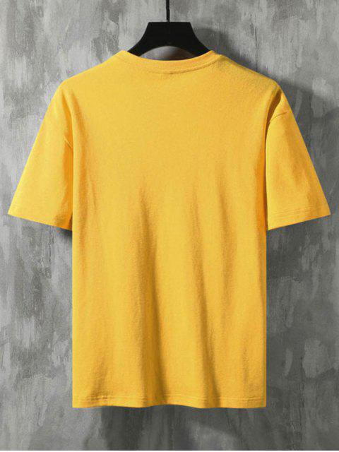 Camiseta Básica con Estampado de Tiburón - Amarillo 2XL Mobile