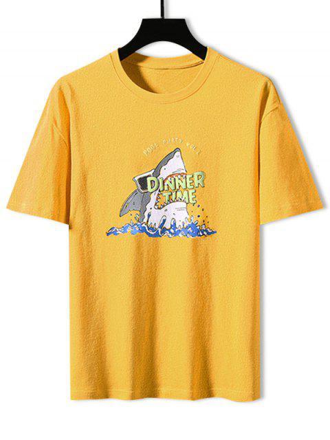 Camiseta Básica con Estampado de Tiburón - Amarillo 3XL Mobile