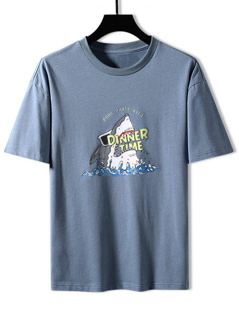 outfits Shark Dinner Time Graphic Basic T-shirt - MIST BLUE 3XL Mobile