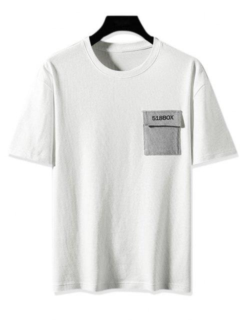 Colorblock Pocket Graphic Print Basic T-shirt - أبيض 2XL Mobile