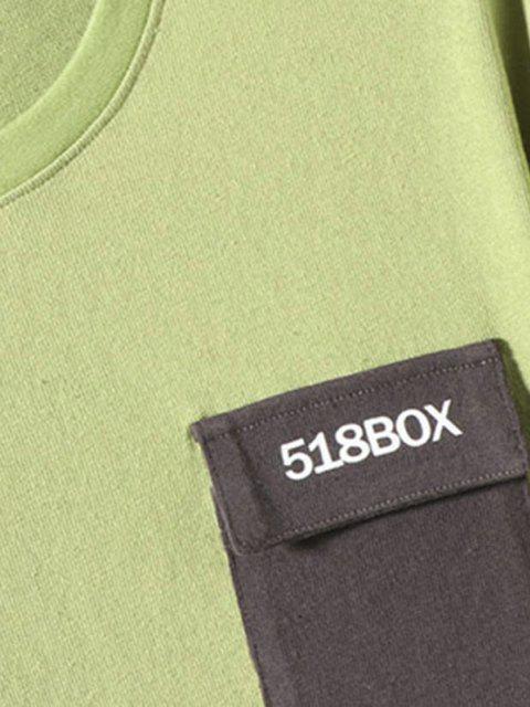 Maglietta a Maniche Lunghe con Stampa Grafica a Blocchi di Colori e Tasca - Verde 3XL Mobile