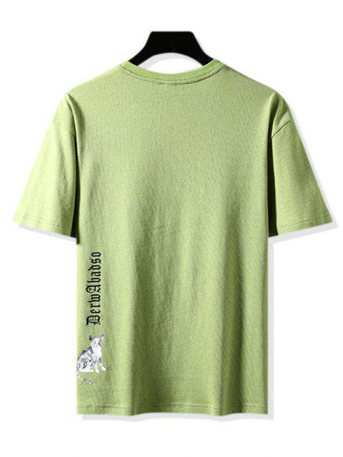 Colorblock Pocket Graphic Print Basic T-shirt - أخضر 3XL Mobile