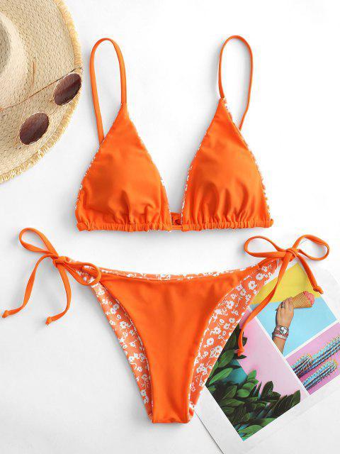 women's ZAFUL Floral Or Orange Reversible String Bikini Set - PUMPKIN ORANGE M Mobile