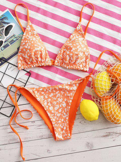 women ZAFUL Floral Or Orange Reversible String Bikini Set - PUMPKIN ORANGE S Mobile