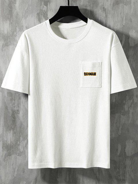 Badman Cartoon Print Pocket Patch Basic T-shirt - أبيض 3XL Mobile