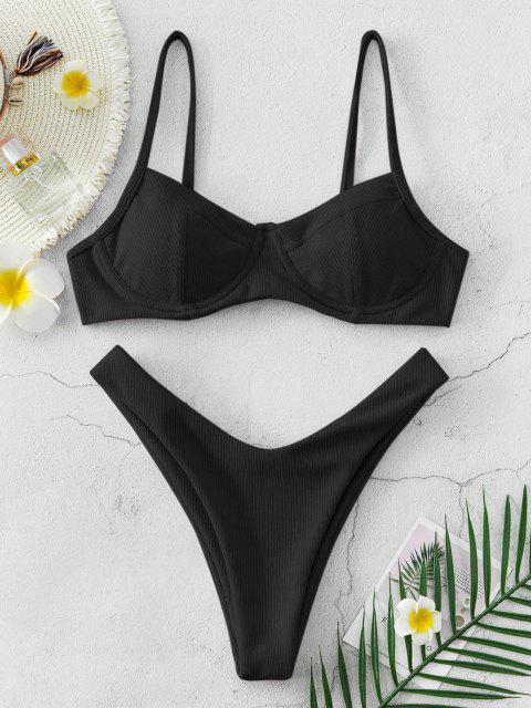 online ZAFUL High Cut Ribbed Underwire Bikini Swimsuit - BLACK S Mobile
