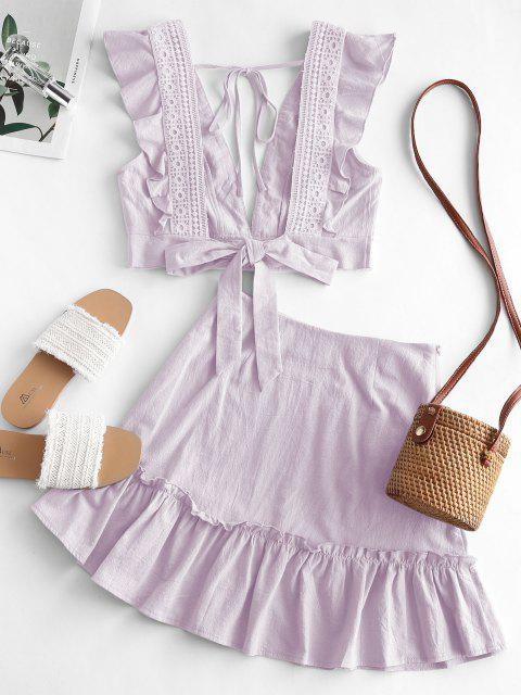 latest Ruffle Crochet Lace Panel Two Piece Dress - LIGHT PURPLE XL Mobile