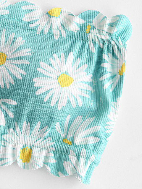 ladies ZAFUL Flower Scalloped Ribbed Tie Side Bikini Swimwear - LIGHT AQUAMARINE M Mobile