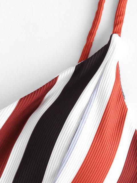 ZAFUL Gerippte Streifen Tankini Badebekleidung mit Schnürung mit Hoher Taille - Multi-B XL Mobile