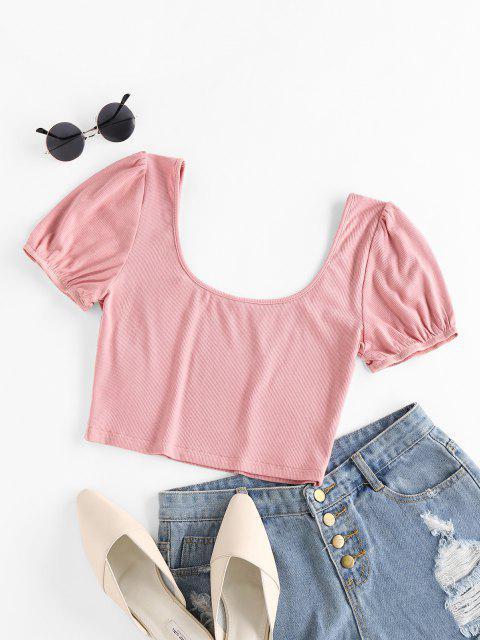 T-Shirt Corta a Costine con Scollo a U di ZAFUL - Rosa L Mobile
