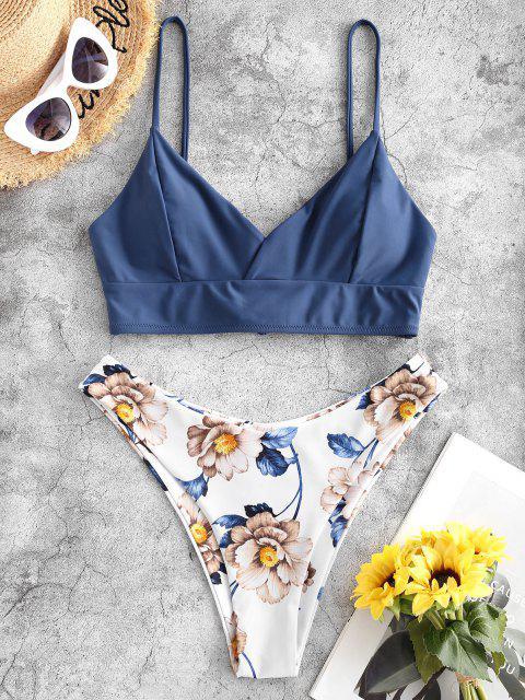 shop ZAFUL Lace Up Back Floral High Cut Bikini Swimsuit - BLUE KOI S Mobile