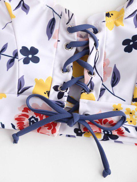 Costume da Bagno a Tre Pezzi Floreali con Lacci di ZAFUL - Multi Colori-A L Mobile
