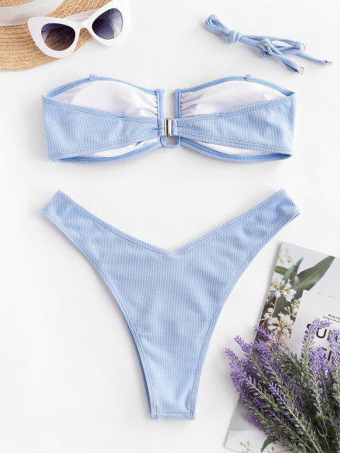 affordable ZAFUL Textured U-bar Bandeau Bikini Swimwear - DAY SKY BLUE M Mobile