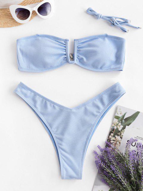buy ZAFUL Textured U-bar Bandeau Bikini Swimwear - DAY SKY BLUE L Mobile