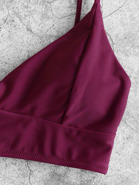 Costume da Bagno Bikini Floreale con Lacci Indietro di ZAFUL a Taglio Alto - Pie di Prugna  S Mobile