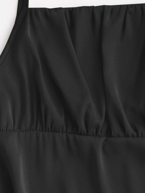 Seidiger Geraffte Krawatte Schulter Minikleid - Schwarz S Mobile