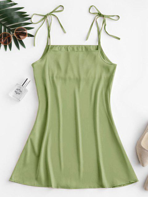 Seidiger Geraffte Krawatte Schulter Minikleid - Grüne Avocado L Mobile
