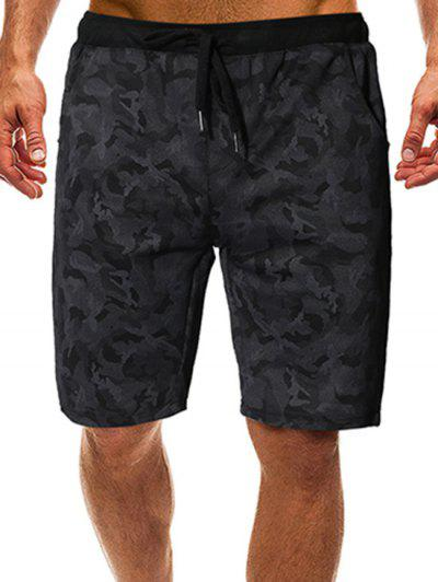 Camouflage Print Drawstring Graphic Shorts - Black M
