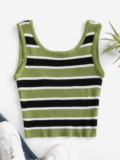 Cropped Stripes Knitted Tank Top - Deep Green