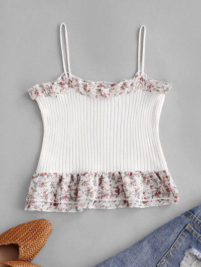 Floral Print Chiffon Trim Cami Top - White