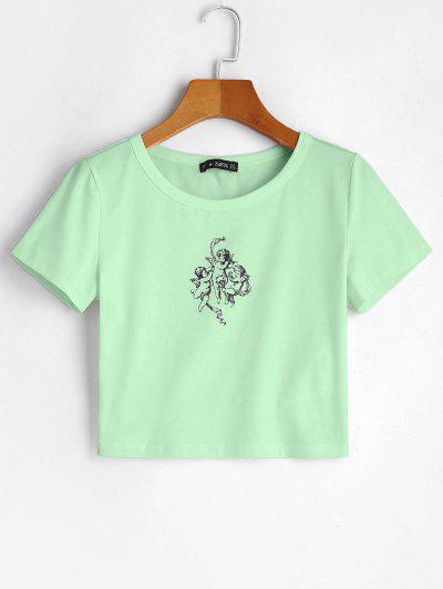 ZAFUL Angel Graphic Crop Tee - Mint Green Xl