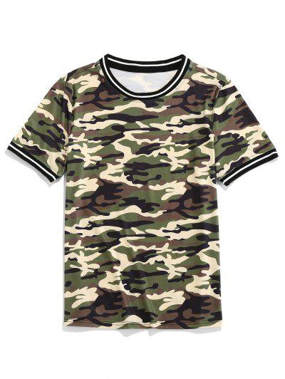 ZAFUL Camo Print Short Sleeves Casual T-shirt - Woodland Camouflage 2xl