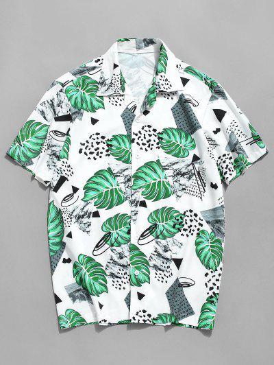 Camisa Con Botones De Estampado De Leopardo De Hoja Tropical - Blanco M