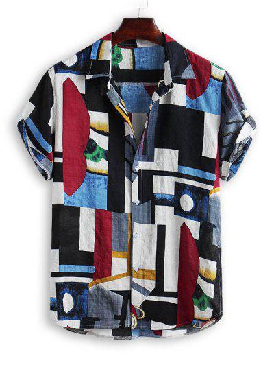 Geometric Spliced Print Button Down Shirt - Multi-a L