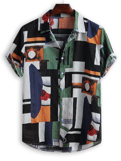 Geometric Spliced Print Button Down Shirt - Multi-b L
