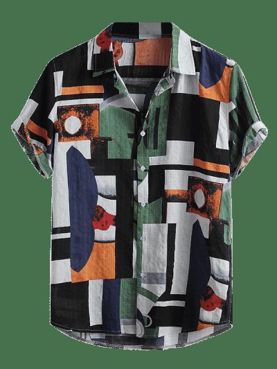 Geometric Spliced Print Button Down Shirt