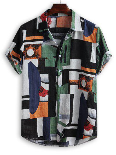 Geometric Spliced Print Button Down Shirt - Multi-b Xl