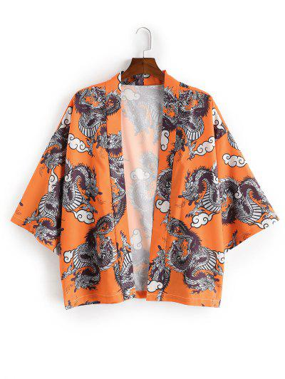 Dragon Print Open Front Kimono Cardigan - Pumpkin Orange Xl